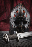 Medieval armour, helmet and sword Stock Photography