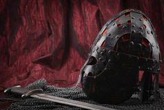 Medieval armour, helmet and sword Stock Image