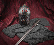 Medieval armour, helmet and sword Royalty Free Stock Photos