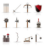 Medieval arms and objects icons Royalty Free Stock Images