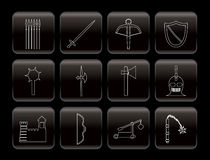 Medieval arms and objects icons Royalty Free Stock Photos