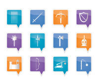 Medieval arms and objects icons Stock Image