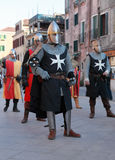 Medieval army. Venice,Italy-Februray 26th, 2011: Image of a medieval army marching in a characters parade in Venice on Sestiere Castello, during The Canival days Royalty Free Stock Photography