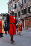 Medieval army. Venice,Italy-Februray 26th, 2011: Image of a medieval army marching in a characters parade in Venice on Sestiere Castello, during The Canival days Royalty Free Stock Photos