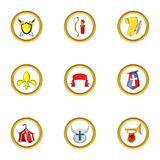 Medieval army icon set, cartoon style Royalty Free Stock Images