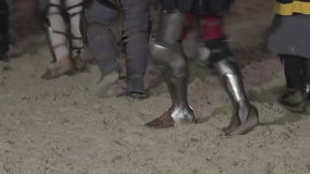 Medieval army of knights come back home. Reenactment of historical action. Stock footage stock video footage