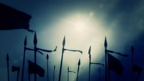 Medieval Army Preparing to Battle on a Cloudy Day. Animation stock footage