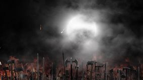 Medieval Army Waving their Weapons Before or After a Battle on a Full Moon Foggy Night