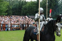 Medieval art festival, jousting tournament stock image
