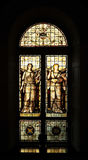 Medieval art. Medieval stained glass depicting the muses of art and music Royalty Free Stock Photography