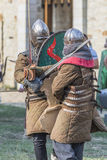 Medieval Arts Festival 2015 - Suceava Medieval Crown Fortress. Suceava, Romania - August 15th 2015 - Demonstrational fighting performed by knights at the Royalty Free Stock Photos