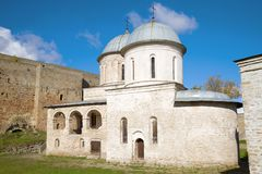 Medieval Assumption Church in the Ivangorod Fortress stock images