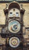 Medieval astrological clock in Prague, Czech Republic. Prague, Czech Republic- November 12, 2017:Medieval astrological clock in Prague mounted on the wall of Stock Photo