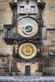Medieval Astronomic clock (Orloj) on the Old Town Hall tower  Stock Photos