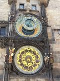 Medieval astronomical clock in the city center of Prague royalty free stock photo