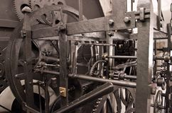 Medieval astronomical clock gearing - interior Stock Image