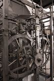 Medieval astronomical clock gearing - interior Stock Photos