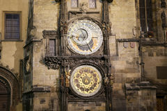 Medieval astronomical clock in the Old Town square in Prague, Czech republic Stock Images