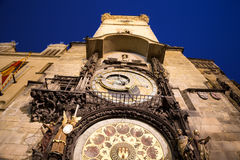 Medieval astronomical clock in the Old Town square in Prague, Czech republic Royalty Free Stock Photography