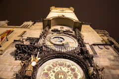 Medieval astronomical clock in the Old Town square in Prague, Czech republic Stock Image