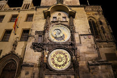 Medieval astronomical clock in the Old Town square in Prague, Czech republic Royalty Free Stock Images