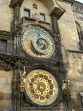 Medieval astronomical clock in Prague, Czech Republic. The clock was first installed in 1410, making it the third-oldest astronomical clock in the world and the Royalty Free Stock Photo