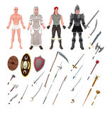 Medieval avatar with armors and weapons Royalty Free Stock Photo