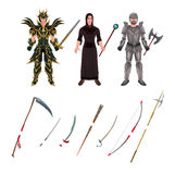 Medieval avatar with armors and weapons Royalty Free Stock Images