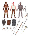 Medieval avatar with armors and weapons Stock Photos