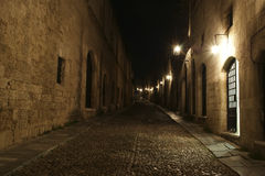 Medieval Avenue of the Knights at night Stock Photography