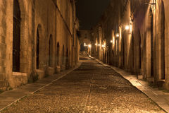 Medieval Avenue of the Knights at night Stock Photos