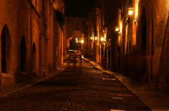 Medieval Avenue of the Knights at night, Rhodes Royalty Free Stock Image