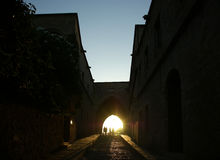 Medieval Avenue of the Knights at night, Rhodes Citadel , Greece Royalty Free Stock Photo