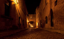 Medieval Avenue of the Knights at night, Rhodes stock image