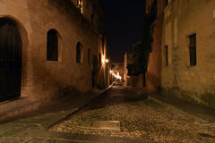Medieval Avenue of the Knights at night, Rhodes Royalty Free Stock Photo