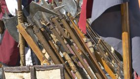 Medieval Axes. And other weapons standing stock footage