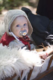 Medieval baby. Visby, Gotland island / Sweden -  August 5: Traditional medieval festival with concerts, market and people dressed with medieval costumes - August Royalty Free Stock Photography