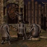 Medieval background with fantasy toon figure Stock Image