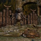 Medieval background with fantasy toon figure Stock Photos