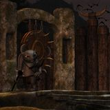 Medieval background with fantasy toon figure Royalty Free Stock Photo