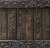 Medieval background with old metal frame over wooden planks 3d illustration Royalty Free Stock Photos