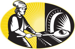 Medieval baker baking bread pan oven retro Royalty Free Stock Photos