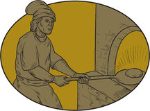 Medieval Baker Bread Peel Wood Oven Oval Drawing vector illustration