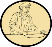 Medieval Baker Rolling Pin Oval Drawing Stock Image