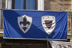 Medieval banner. With the lily flower and a shield as symbol Stock Photography