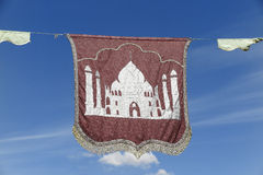 Medieval banner. Picture of a medieval banner with the sky as background Stock Photos