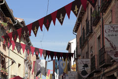 Medieval banners. At the streets of Alcala de Henares,Spain, during the celebration of a medieval market Royalty Free Stock Photo