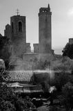 Medieval barbecue fest at San Gimignano BW Royalty Free Stock Photos