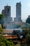 Medieval barbecue fest at San Gimignano Stock Images