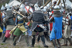 Medieval battle. Festival of Medieval Culture Vyborg Thunder, Russia, Vyborg, August 17, 2013 Stock Images